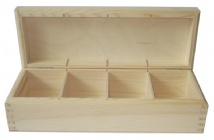 Small Pine Wood 4 Compartment Tea Box